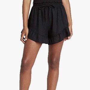 Wild Fable-Black Ruffle Linen Shorts